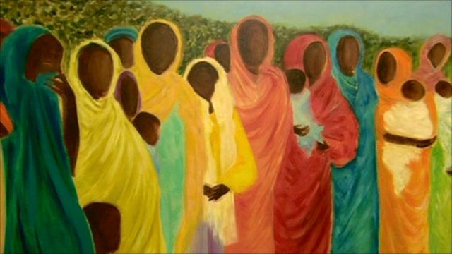 Detail from painting at UN International Widows' Day exhibition