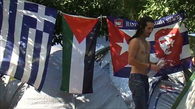 A protester in Greece