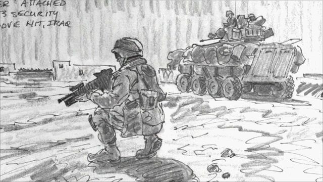 A sketch of a US soldier crouching next to a tank