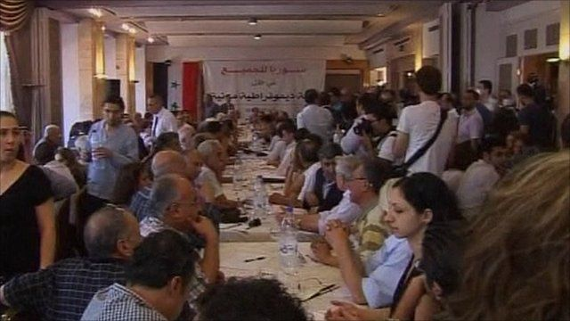 Syrian dissidents at the Damascus meeting