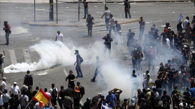 Tear gas and rioters in Athens