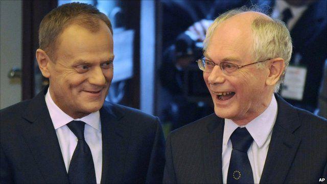 Polish PM Donald Tusk and European Council President Herman Van Rompuy