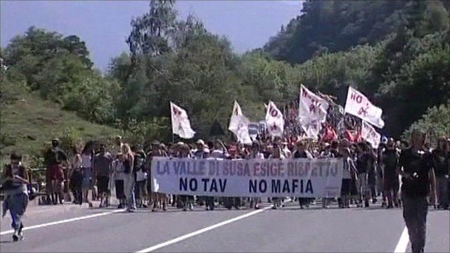 Protesters against the high-speed rail link through the Italian Alps