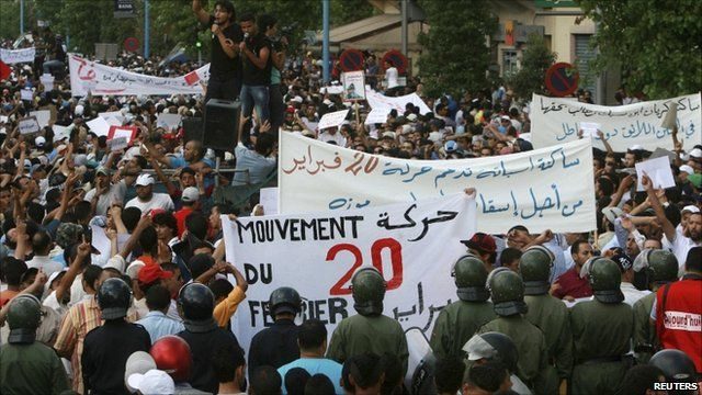 Anti-government protesters in Rabat