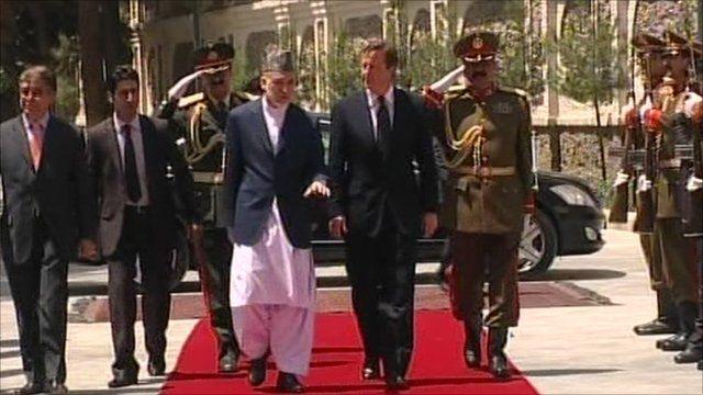 Hamid Karzai and David Cameron in Afghanistan