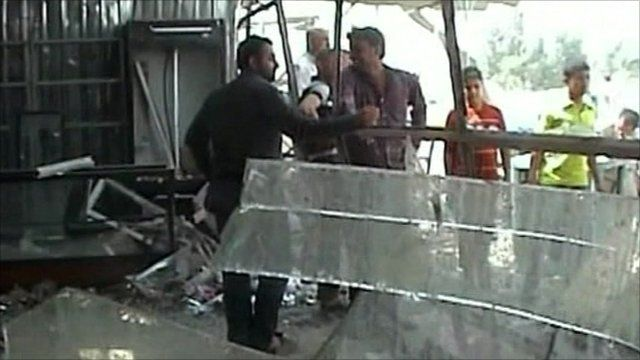 Damage from bomb in Iraq