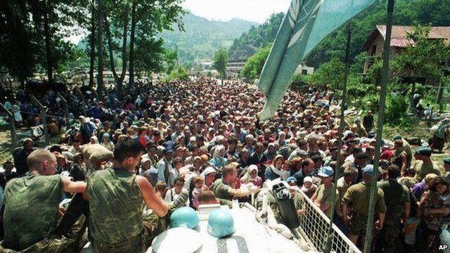 Muslim refugees in Potocari, 1995