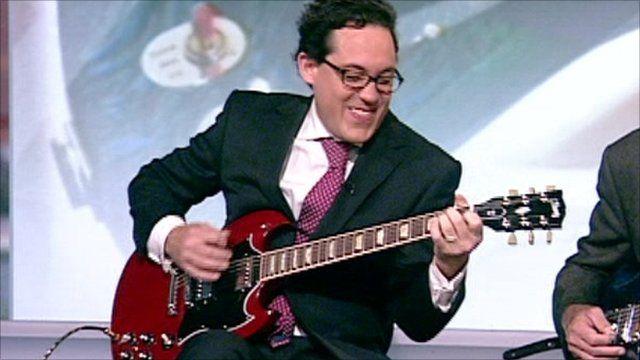Simon Jack and a Gibson guitar