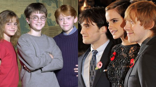 Daniel Radcliffe, Emma Watson and Rupert Grint in 2001 and 2010