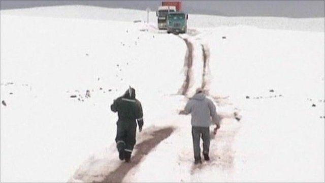 A blanket of snow on the Atacama desert