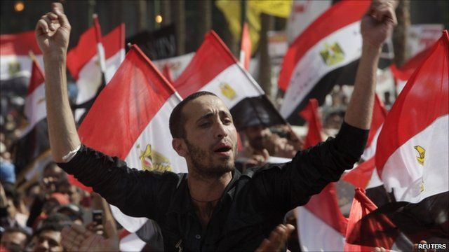Protester singing during demonstration in Cairo