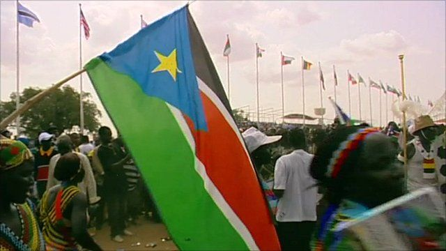 South Sudan's flag waved at independence ceremony in Juba
