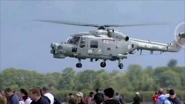 A Royal Navy Lynx helicopter comes in to land at RNAS Yeovilton