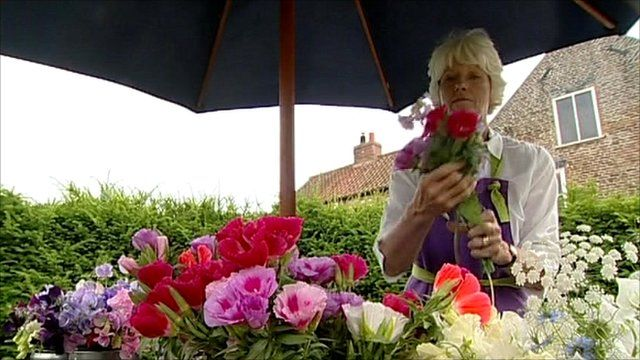 Gill Hodgson with her homegrown flowers