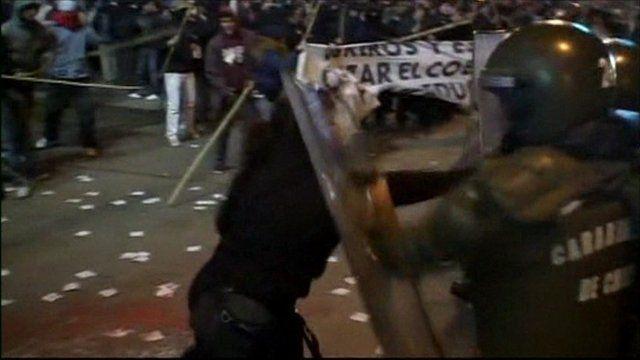 Clashes in Santiago