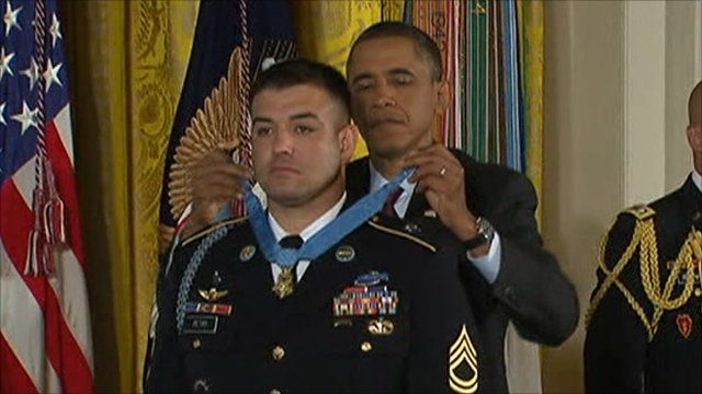 Staff Sgt Leroy Petry with Barack Obama