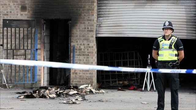 Explosion site in Broadfield Lane Industrial Estate