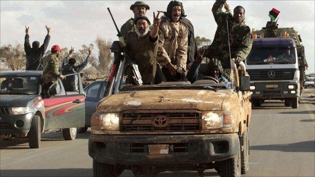 Libyan rebels on the road between Benghazi and Ajdabiyah