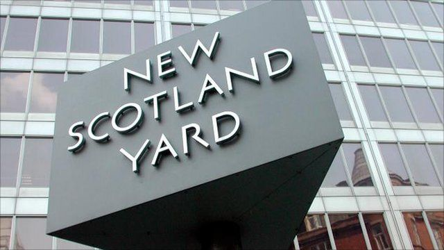 The sign of New Scotland Yard the headquarters of the Metropolitan Police Force