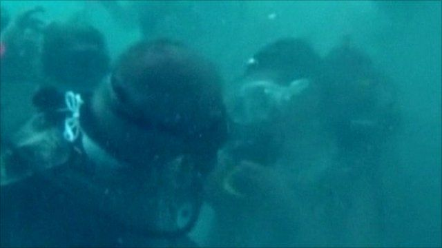 A couple got married under the sea in Mexico