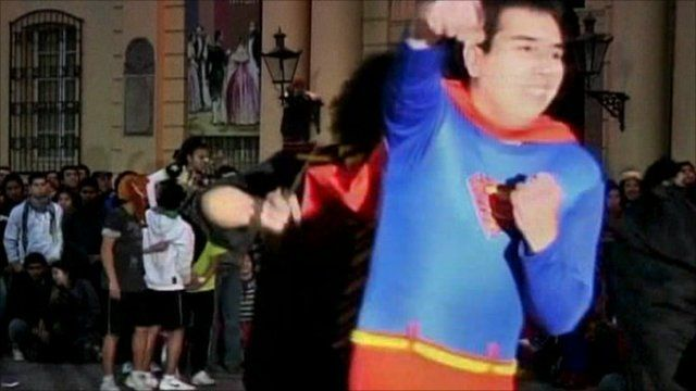 A student wearing the costume of Superman