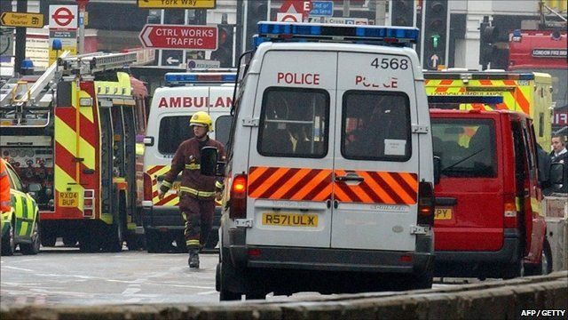 Emergency services at the blast