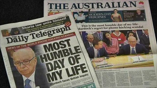 Front pages of Australian newspapers