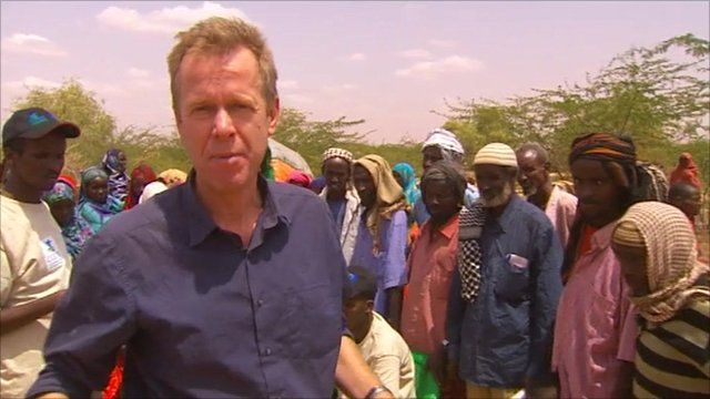 Andrew Harding at a food distribution point