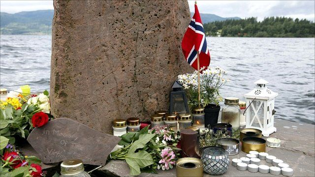 Flowers and candles for the victims of the attacks