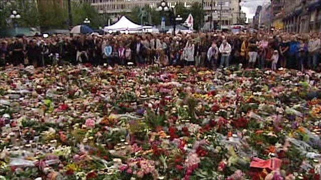 People in Norway observe a minute's silence