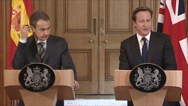 Jose Luis Zapatero and David Cameron