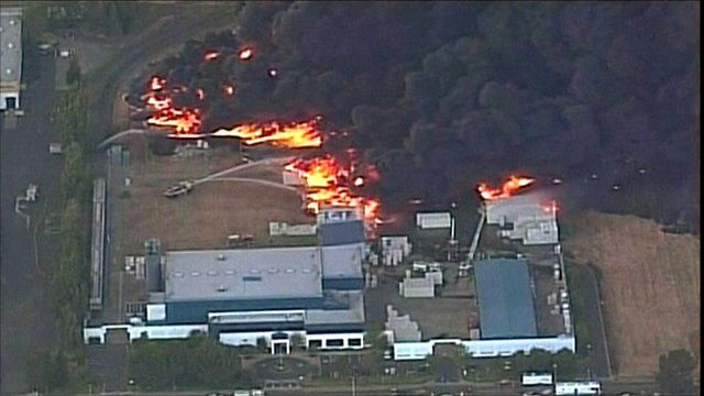 Fire at a plastics factory in Fairfield, California