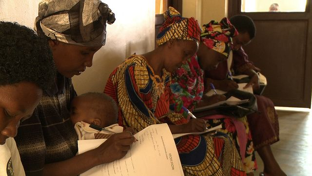 Women wait to be screened for cervical cancer at a health clinic in Rwanda