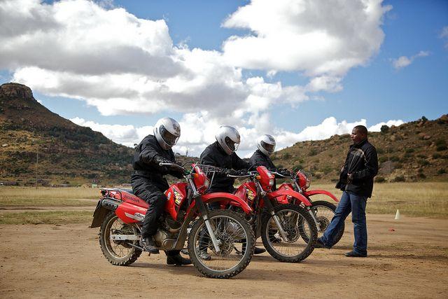 Isaac Monokwa on a motorbike