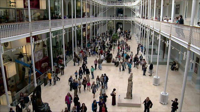 Crowds inside the National Museum of Scotland
