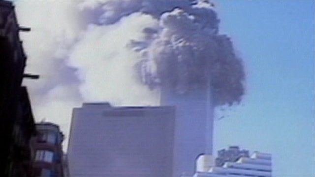 North Tower of the World Trade Center collapses