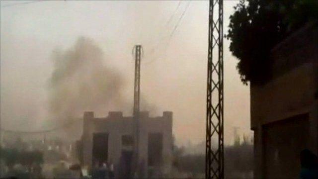 Smoke rising from buildings