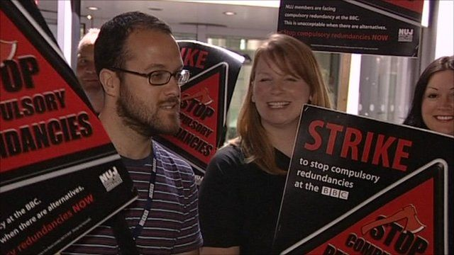 NUJ staff picket BBC Television Centre
