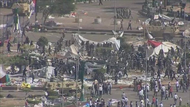 Police clearing protesters from Tahrir Square, Egypt