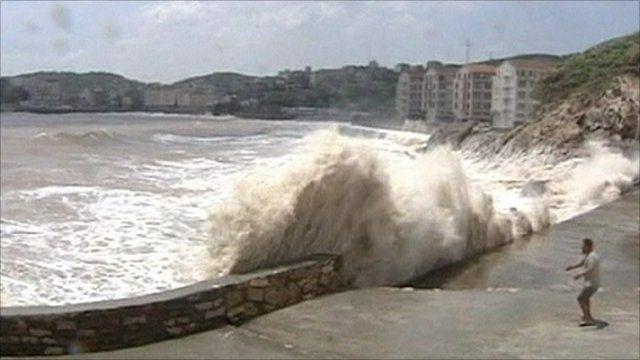 Rough seas hitting the shore