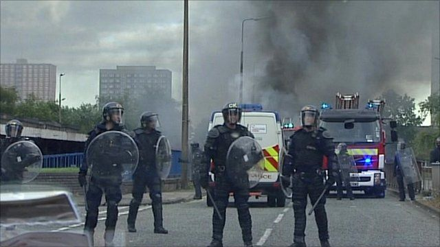 Riot police in Manchester