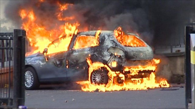 Car set alight in the Midlands