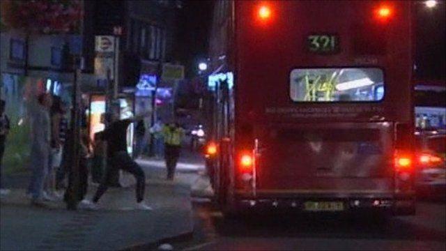 Man throws missile at bus