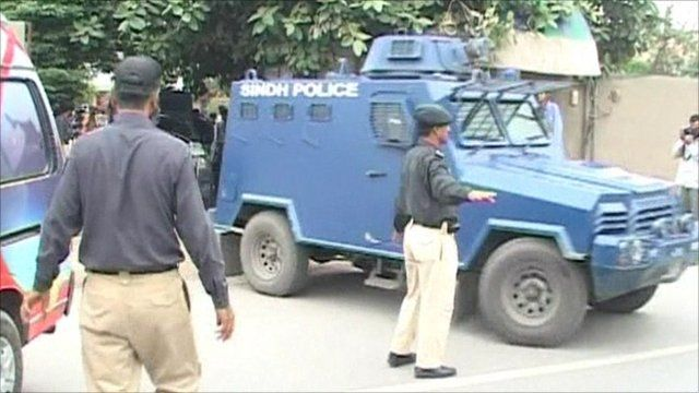 police vehicle carrying the sentenced soldiers from court