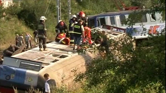 Train derailment in Poland