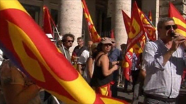 Protest against Italy's austerity measures