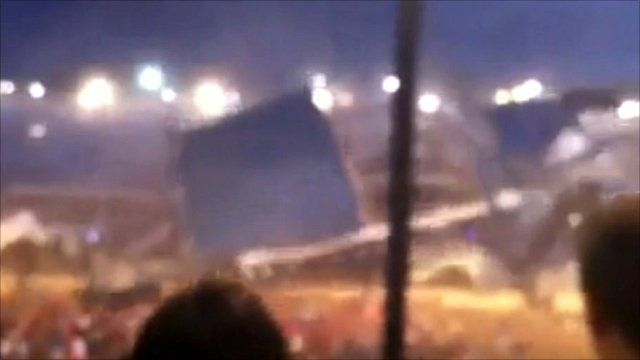 Video taken at the event shows the stage collapsing