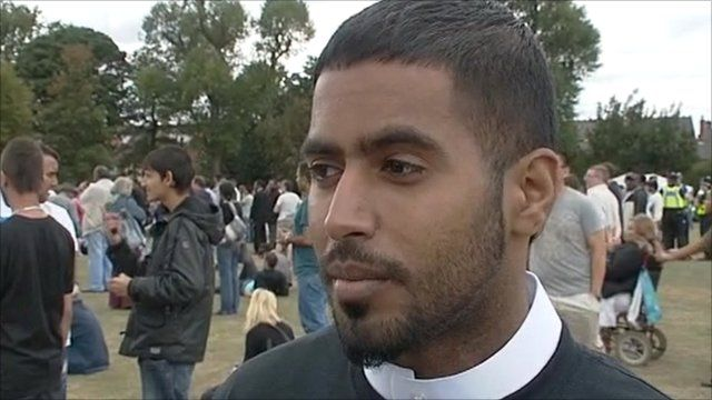 Man at peace rally