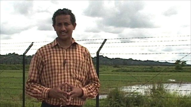 The BBC's Anbarasan Ethirajan at the India-Bangladesh border