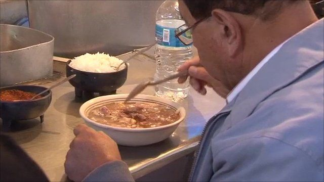 Mexican man eating